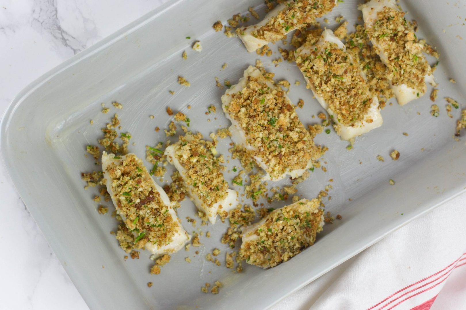 Herb crusted fish fillets - enjoy these cod fillets with a parmesan herb and crumb crust
