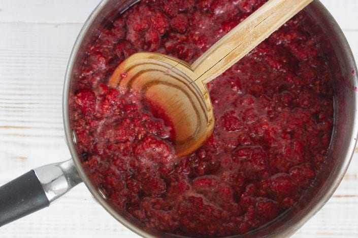 Sugar free jam recipe - make this delicious raspberry and chia seed jam as part of our roly poly cake filling or just to enjoy on its own