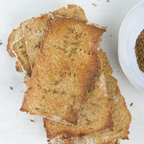 Swedish rye crispbread recipe - enjoy these homemade rye thins with caraway and a maple glaze
