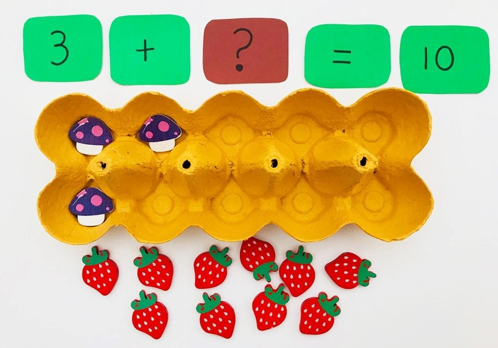 number bonds, learn number bonds with an egg box