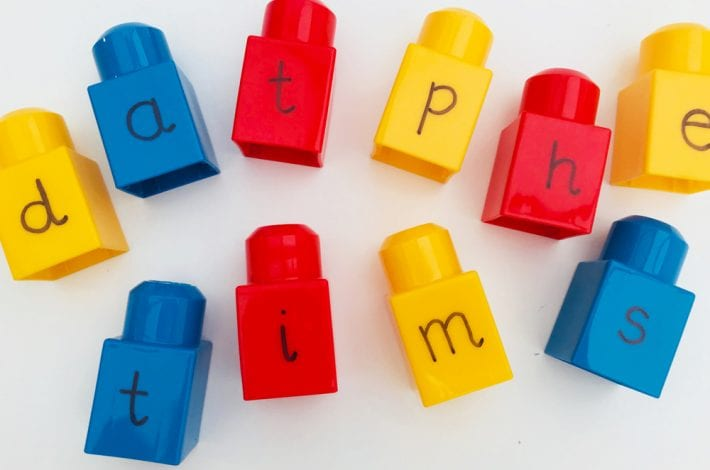 spelling activities - try this word building game with lego bricks