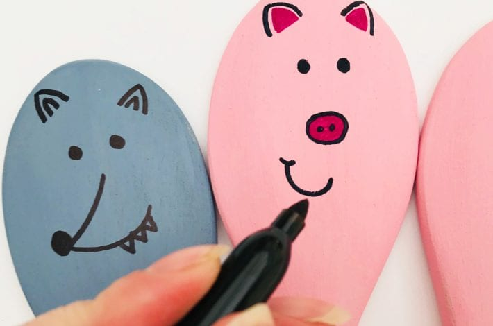 3 little pigs story spoons - story spoon craft