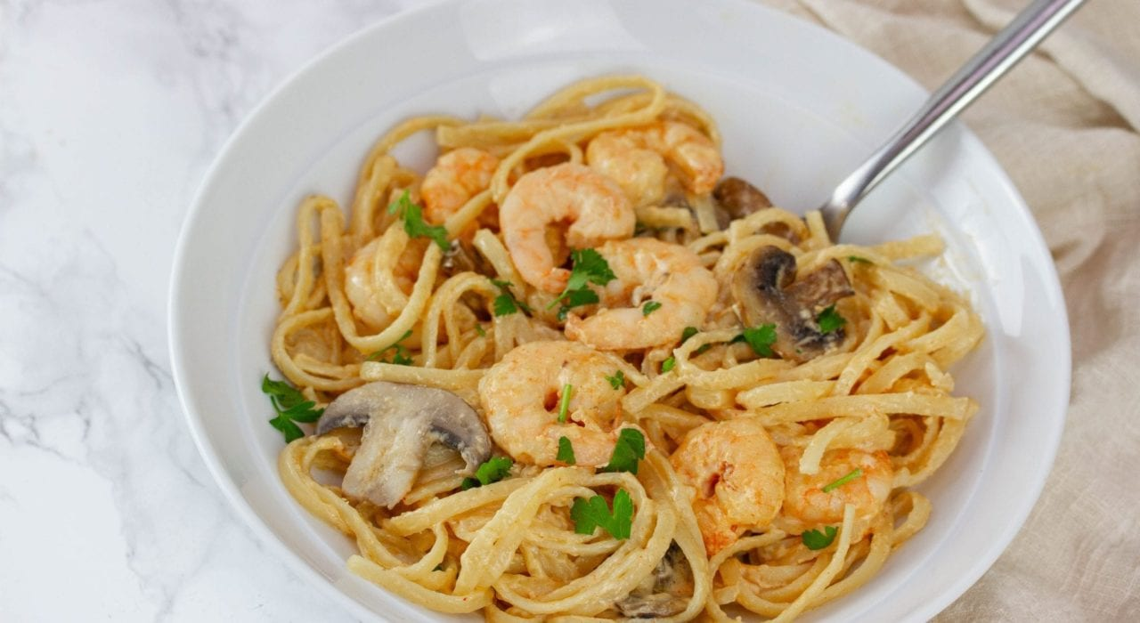 Creamy prawn linguine - enjoy this lighter prawn carbonara recipe for your next family dinner