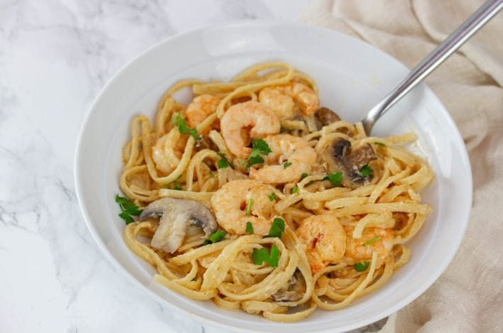 Creamy prawn linguine - enjoy this lighter prawn carbonara recipe for your next family dinner