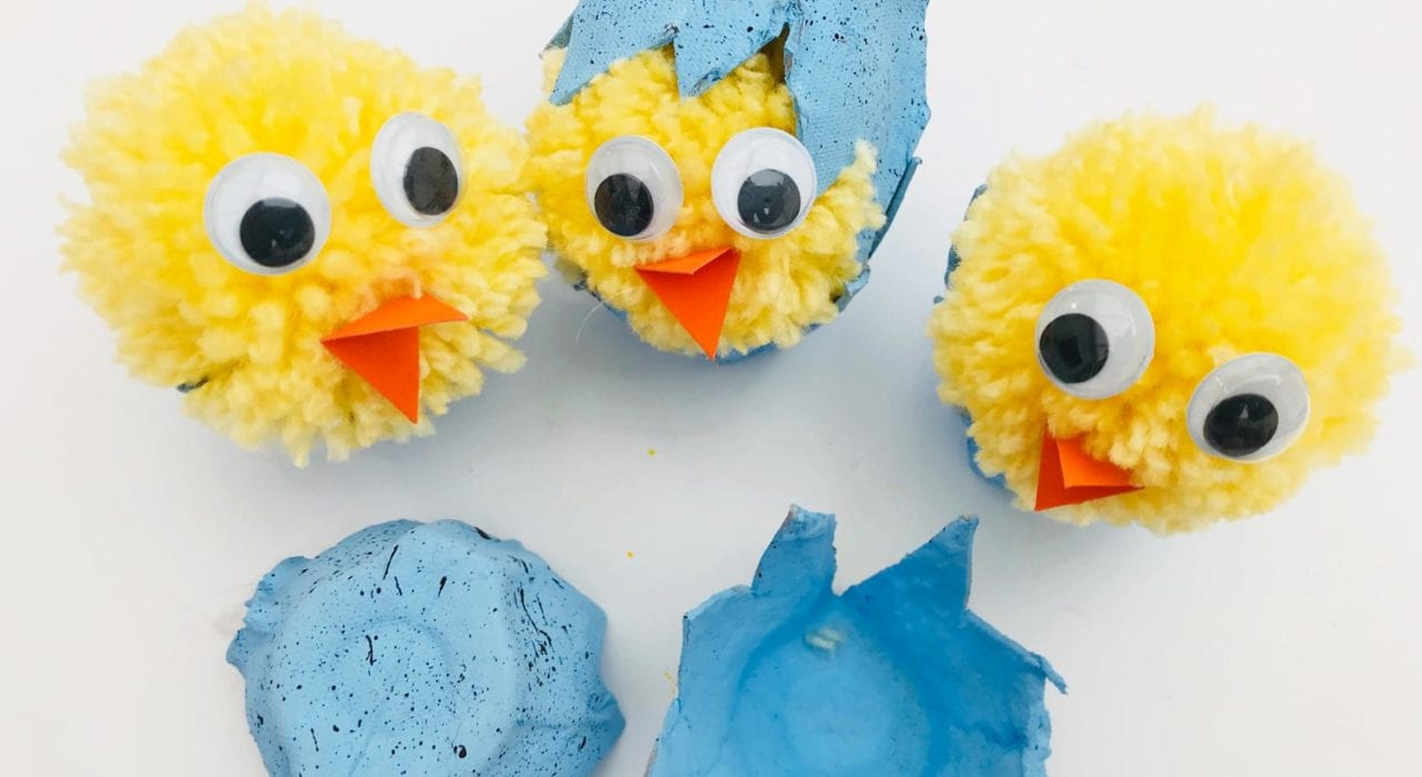Egg carton craft - enjoy making these cute hatching pom pom chicks as an Easter craft with the kids