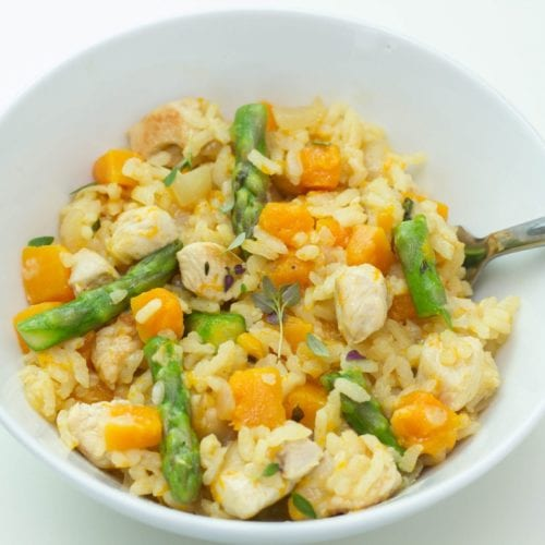 Leftover chicken risotto - turn leftover chicken into this tasty and delicious chicken risotto