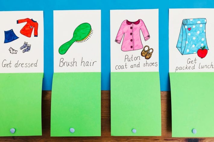 Morning routine chart for kids - stay on track in the mornings with this DIY task board - great for school mornings
