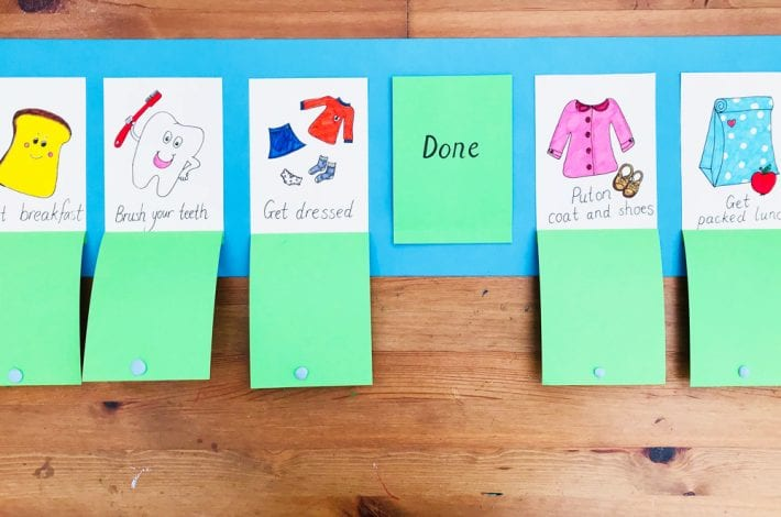 Morning routine board for kids - stay on track in the mornings with this DIY task board