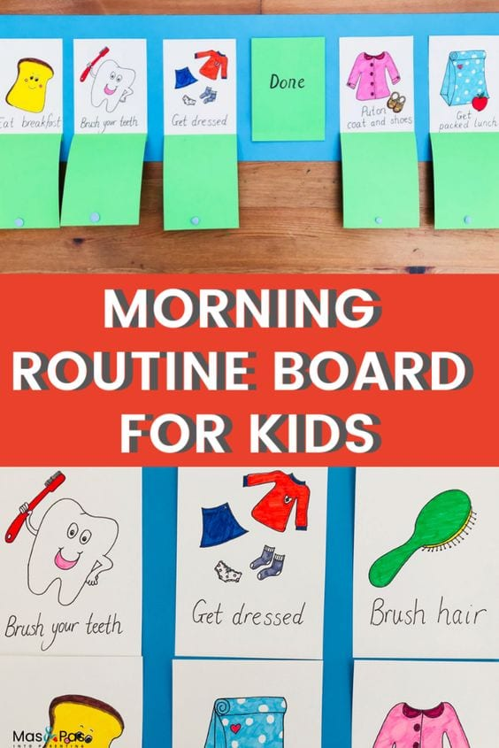 Morning routine chart for kids | DIY Crafts | Mas & Pas