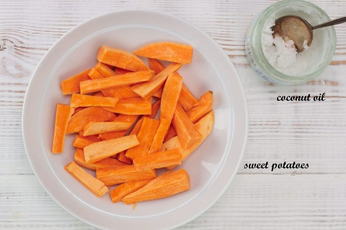 Sweet potato puree - enjoy this sweet potato puree with coconut oil as one of baby's first foods