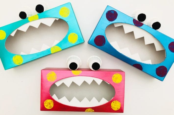 Tissue box monster - have fun making this quick and easy kids craft and turn ordinary tissue boxes into scary monsters!
