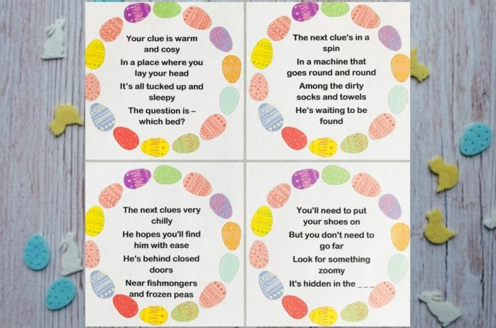 Easter egg hunt clues - enjoy these free easter egg hunt clue printables