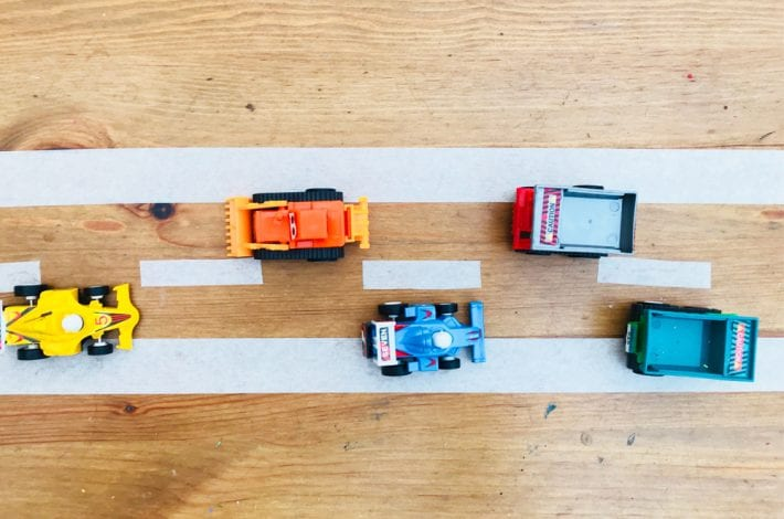 toddler bonding - games for dads and toddlers to play masking tape roads - great for dad and toddler bonding