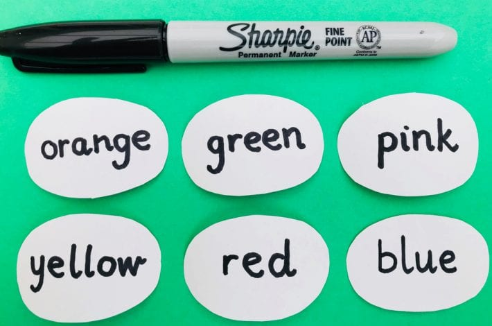 Fun with colors. Learn colours with our pom pom colour matching game - teaching toddlers colors with this first colors game
