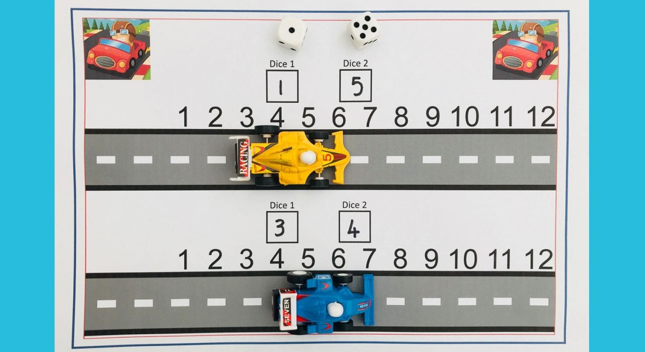 How to make a racing track addition game to practice adding up to 12 early