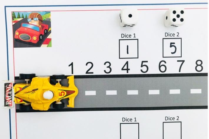 Teach first number bonds. How to make a racing track addition game - early learning maths game to practice adding numbers to 12