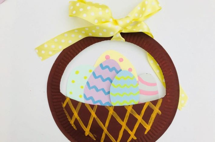 Easter egg basket paper plate craft