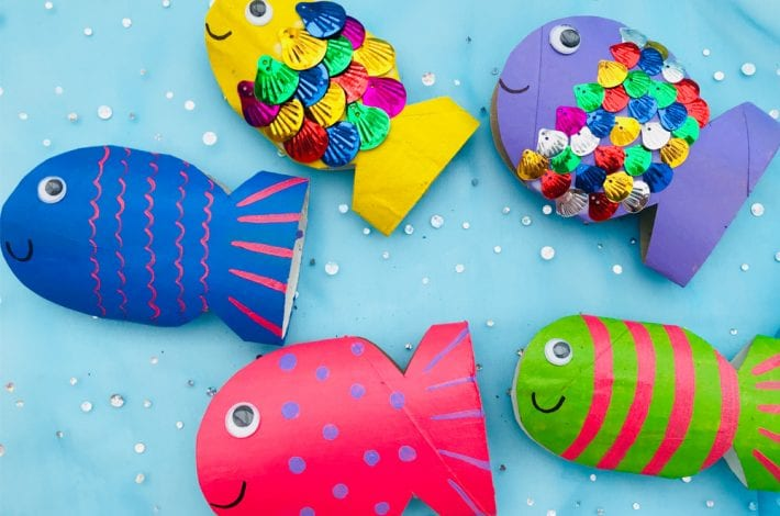 Rainbow paper roll fish - a great spring craft for kids