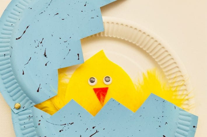 Paper plate hatching chicks Easter craft for kids