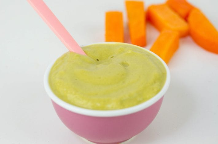 spinach, pumpkin leek and chicken baby puree - baby's first foods and a tasty puree for weaning baby
