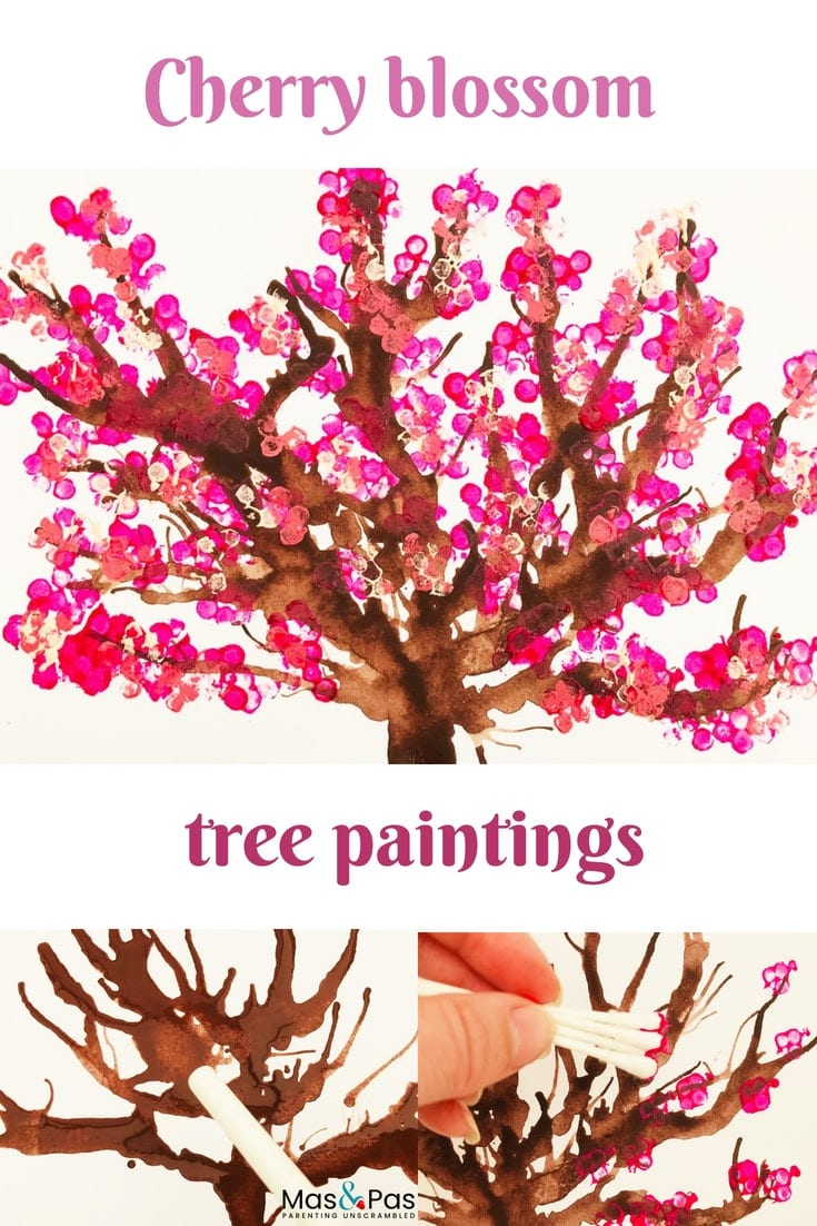 Blow paint and cotton bud printed cherry blossom tree paintings - spring craft for kids