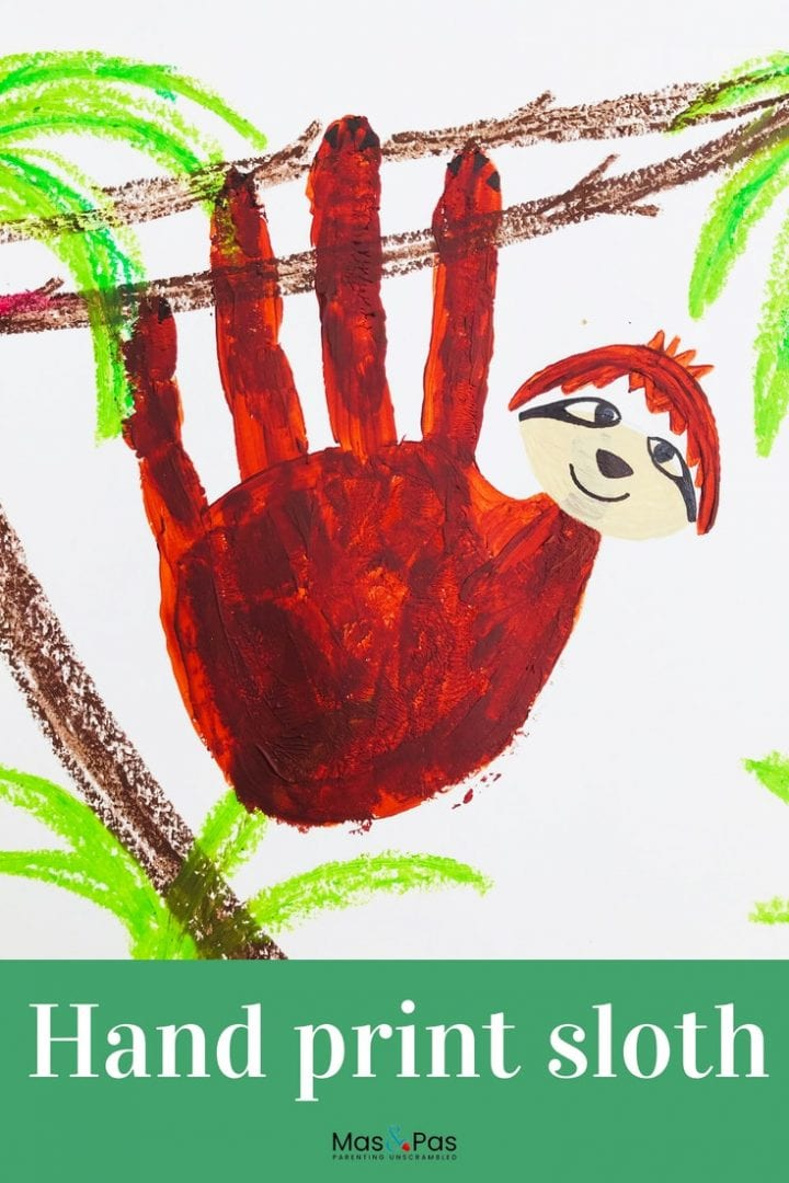 Hand print sloth craft - enjoy making this fun sloth painting with the kids using just handprints and a few added details