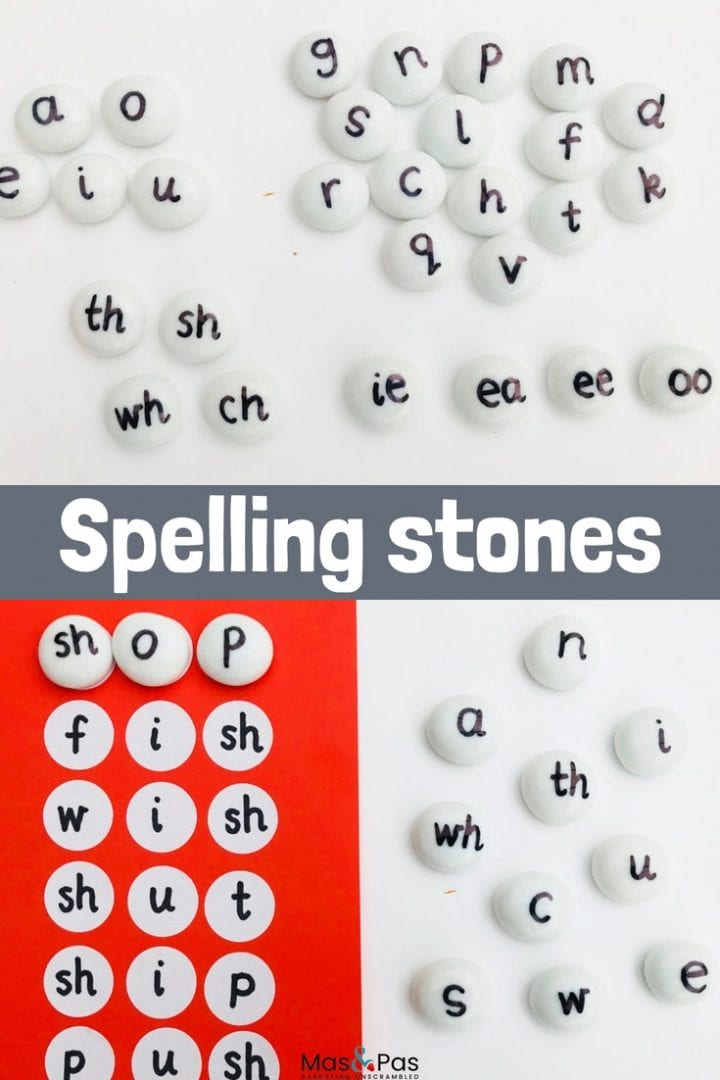 Alphabet stones - learn how to spell first words with this alphabet pebble spelling game. Ideal for early years learning and using letter phonics to sound out first words.