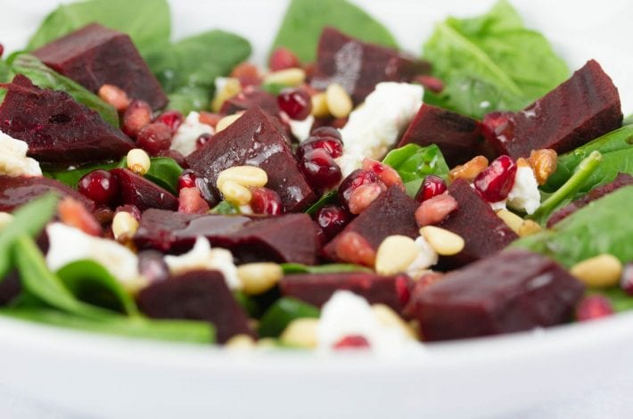 Beetroot salad with goats cheese and pine nuts - healthy summer salad that works as a kids salad