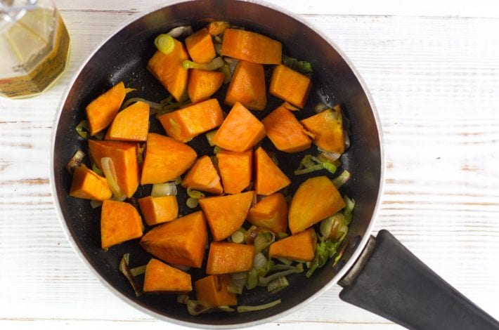 Sweet potato and lentil puree and soup - make this weaning recipe for baby as well as a soup for family dinner