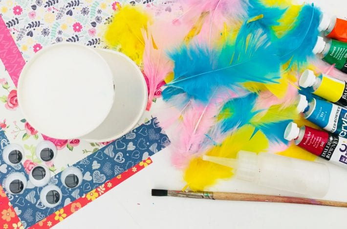 Crazy paper cup birds - summer craft for kids