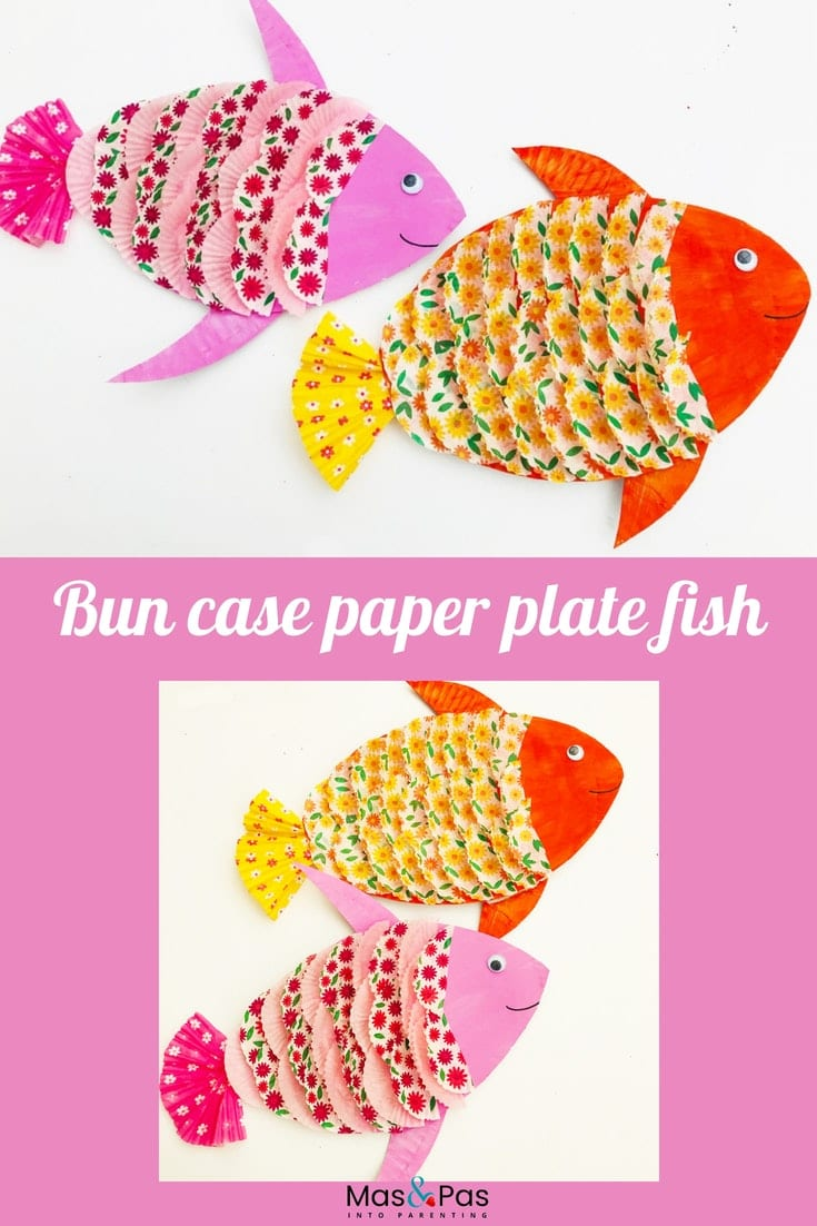 Paper plate fish with bun case scales - an easy craft for kids
