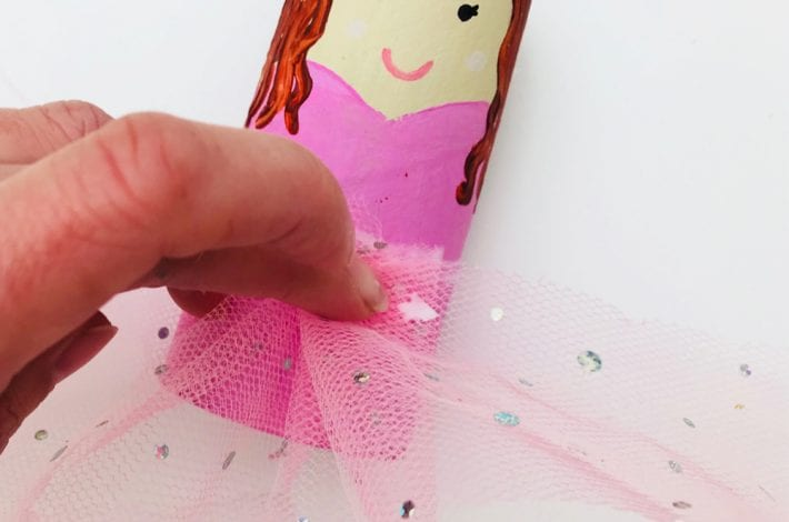Make your own pretty paper roll princess with tulle netting skirt and try this fun toilet roll craft for kids