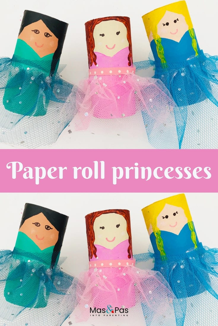 Paper roll princesses with tulle netting skirts - craft for kids