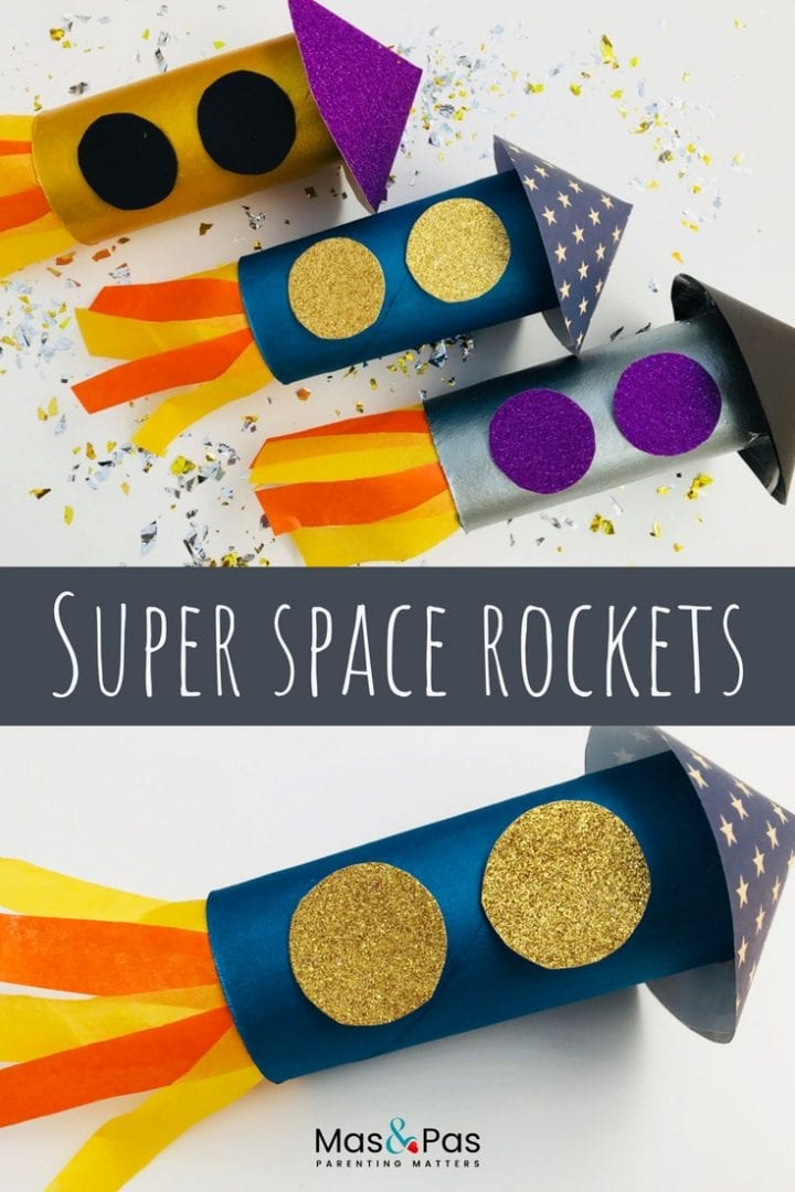 super space rocket craft - make these space rockets using just paper roll, paints, coloured card and tissue paper