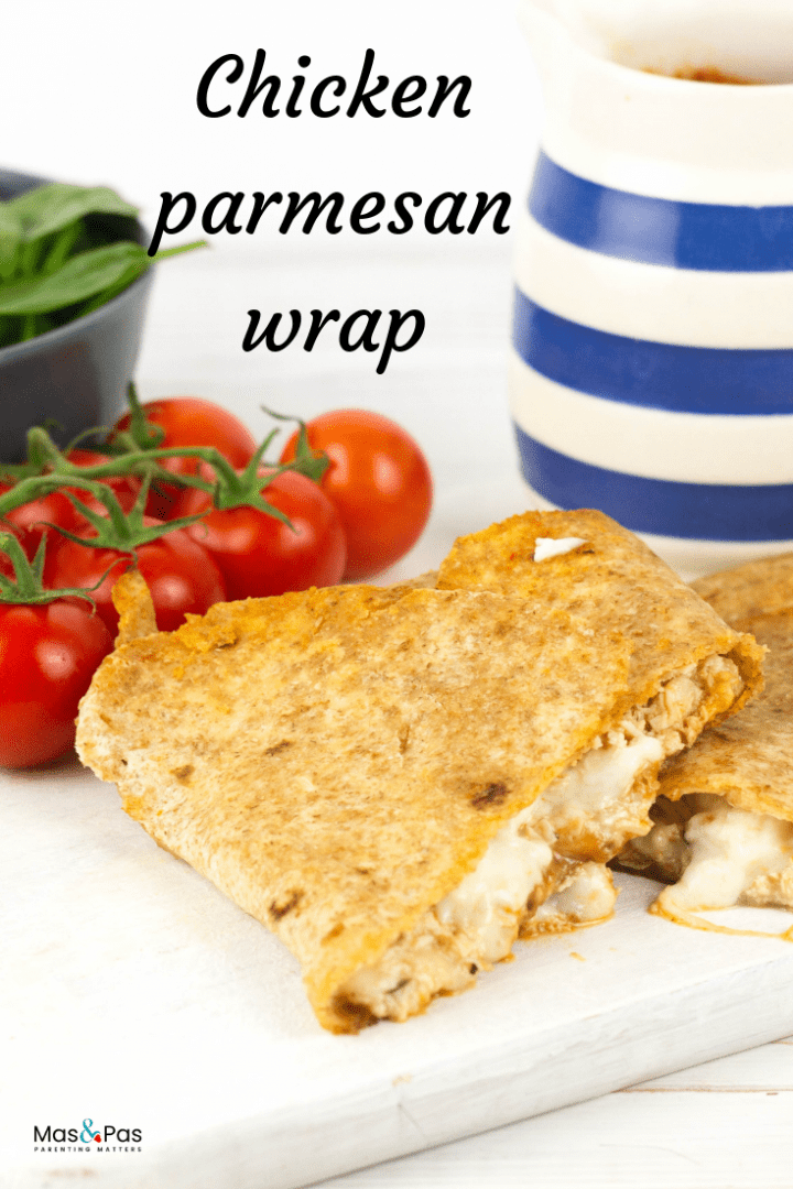 Chicken parmesan wrap - make these delicious chicken wraps with tomato marinara and melted cheese
