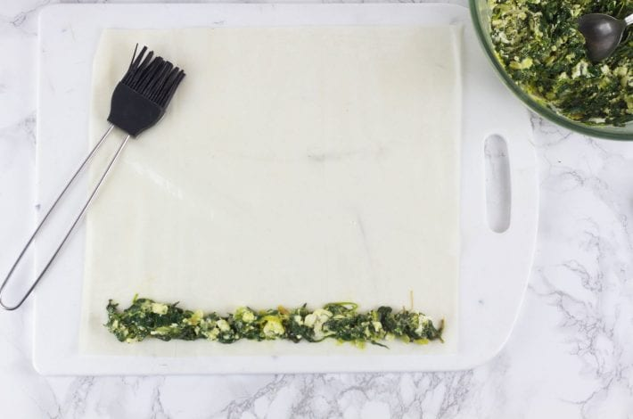 Spanakopita spiral pie - make this healthy spinach and feta cheese filo pie from a traditional Greek recipe