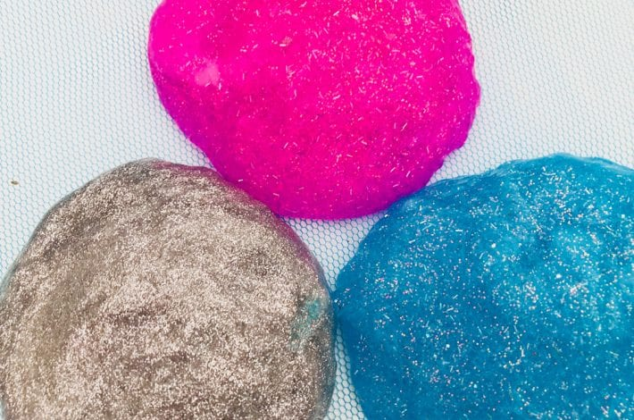 Unicorn poop putty - make this glittery unicorn slime with our simple slime recipe - a great glittery slime for kids