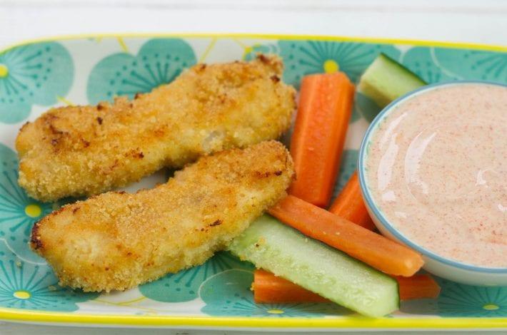 Grilled chicken tenders - tasty chicken tender goujons baked in a breadcrumb mix