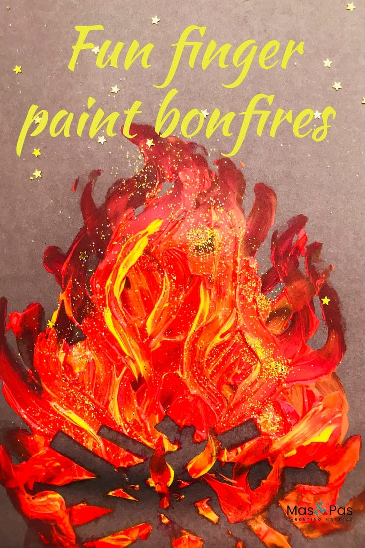 Fun finger paint bonfire paintings - bonfire night craft for kids
