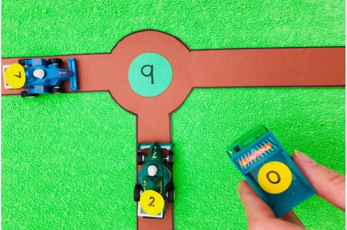 Adding 3 numbers - learn how to add 3 single digit numbers together in a fun way with this roundabout maths game
