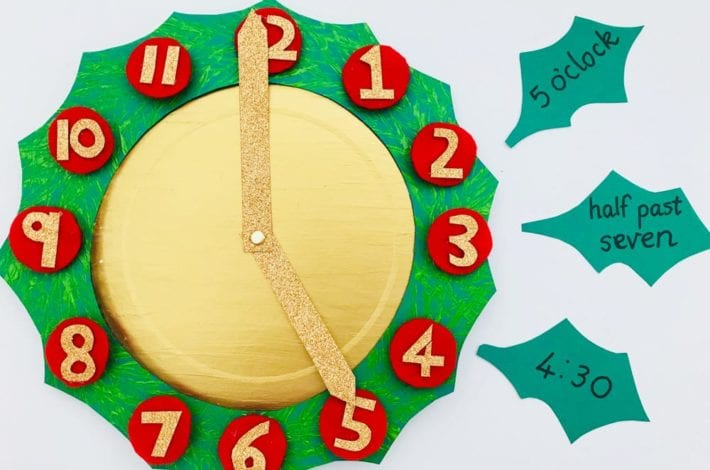 Make your own Christmas wreath clock to help your child to learn about telling the time. Teach telling time and have fun making a beautiful craft too. It makes for a fun telling the time activity this Christmas