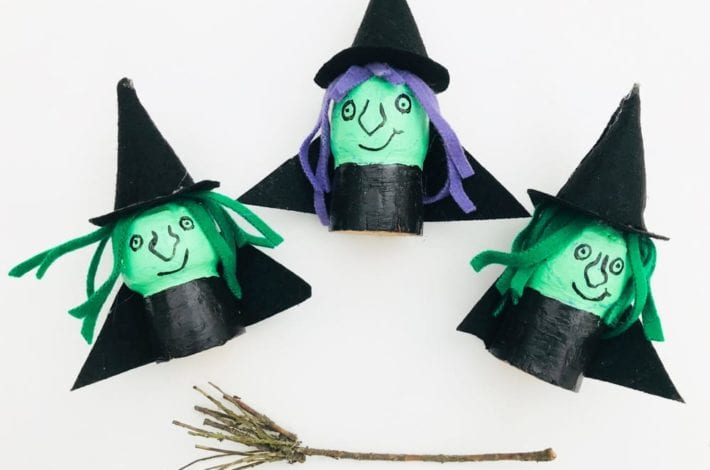 Make these wicked cork witches this Halloween. A great witch Halloween craft for the kids using champagne corks paint and felt.